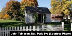 Herbert Hoover, America's 31st president, was born in this two-room cottage in West Branch, Iowa, on August 10, 1874. The blacksmith shop is also part of the historic site within the National Park Service.