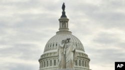 The Peace Monument, also known as the Naval Monument or Civil War Sailors Monument, is seen on the grounds of the Capitol in Washington, as day three of the government shutdown continues.