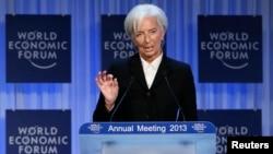 Tổng giám đốc Quỹ Tiền tệ Quốc tế Christine Lagarde phát biểu tại cuộc họp thường niên của Diễn đàn Kinh tế Thế giới tại Davos, ngày 23 tháng 1, 2013.