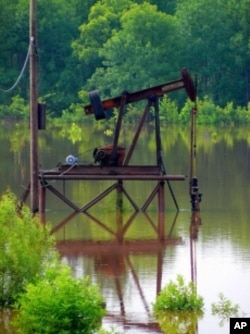 It's true that most pumpjacks sit in fields throughout the West. But they'll work just fine on a platform atop a pond, too. You want 'em where the oil is.