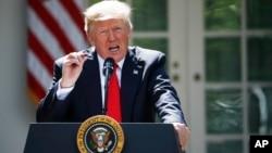 El presidente Donald Trump habla sobre el papel de EE.UU. en el Acuerdo de París sobre el clima. Junio 1, de 2017.