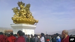 Tibetans gathered at the Dolma grounds after Jamyang Palden's self-immolation