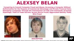 "This wanted poster provided by the FBI shows Alexsey Alexseyevich Belan, aka ""Magg,"" 29, a Russian national and resident. The United States announced charges, March 15, 2017, against two Russian intelligence officers and two hackers."