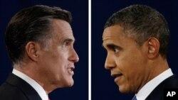 ທ່ານ Mitt Romney ຜູ້ສະມັກ ປະທານາທິບໍດີ ພັກ ເຣພັບບລິກັນ ແລະ ທ່ານ Barack Obama ປະທານາທິບໍດີ ພັກເດໂມແກຣັທ