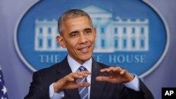 美國總統奧巴馬在星期五(12月16日)舉行的記者會上。