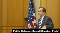 VOA Director David Ensor delivering keynote address to a Public Diplomacy Council forum on November 12, 2013 at the State Department's Marshall Center in Washington, D.C.