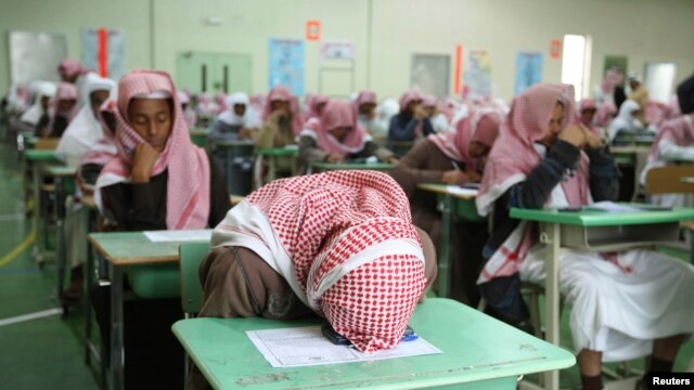 FILE - Secondary school students sit for an exam in Riyadh, Feb. 7, 2009. Media reports suggest students use Captagon to stay alert during exams.