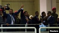 Le président de l'Erythrée, Isaias Afwerki, et le Premier ministre éthiopien, Abiy Ahmed à Addis Abeba, Ethiopie, le 15 juillet 2018.
