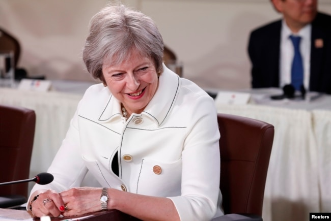 Britain's Prime Minister Theresa May is pictured during a portion of the G-7 summit in the Charlevoix city of La Malbaie, Quebec, Canada, June 9, 2018.