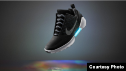 Nike's self-tying shoe is seen in this photo courtesy of the company.