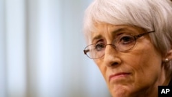 FILE - Undersecretary of State for Political Affairs Wendy Sherman testifies on Capitol Hill in Washington.