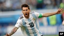 Lionel Messi baada ya kuipatia Argentina bao la kwanza