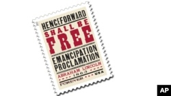 Estampilla con la portada de la proclamación de la independencia de los esclavos en Estados Unidos.