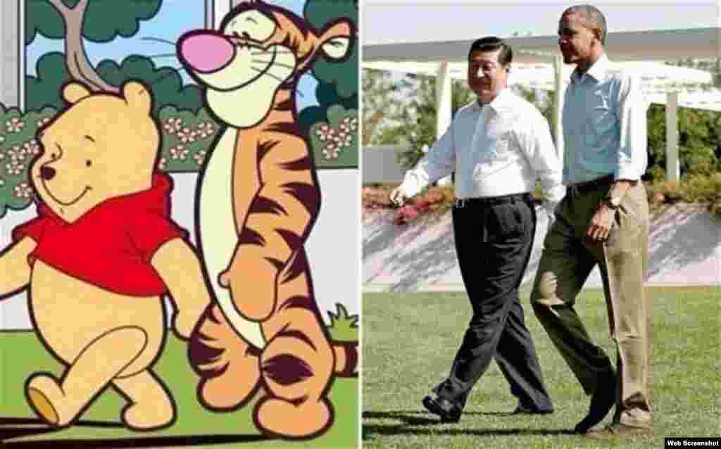 """网上拼图:左图:著名动画形象小熊维尼和它的朋友""""跳跳虎"""";右图:2013年6月8日,美国总统奥巴马和中国主席习近平在加州的庄园并肩而行(来自路透社图片,原图在后面)。有网民认为照片中的两位领导人就像小熊维尼和""""跳跳虎"""",于是把两张图拼在一起,又用小熊维尼代指中国领导人习近平。7月15日,有新浪微博用户关于小熊维尼的博文被删,""""小熊维尼""""""""维尼熊""""等词成了敏感词。同时腾讯微信也将小熊维尼的表情包下架。"""