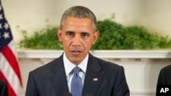 FILE - President Barack Obama speaks in the Roosevelt Room of the White House in Washington, Oct. 15, 2015.