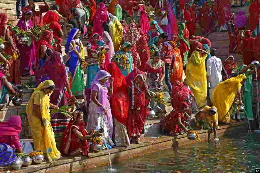 Hindu women collect water from the Pushkar lake to pour on idols of Lord Shiva, on occasion of Mahashivratri festival in Pushkar.
