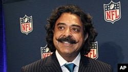 New Jacksonville Jaguars owner Shahid Khan concludes a news conference at the NFL owners meeting in Irving, Texas. The sale from franchise founder Wayne Weaver to the Pakistani-born Khan was unanimously approved. The deal reportedly is for $760 million,