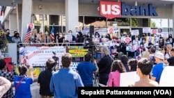 A crowd of dozens of Thai Americans gathers to raise awareness about the increase in hate crimes against Asians in the US during a rally to speak up and show solidarity for the AAPI community at the Thai Town, Los Angeles, CA. April 8, 2021.