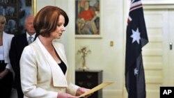 Thủ tướng Australia Julia Gillard trong lễ tuyên thệ ở Canberra, 14/09/2010