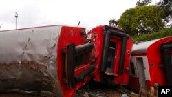 Un train a déraillé à Eseka, au Cameroun, 22 octobre 2016.