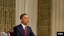 Presiden Amerika Barack Obama di Ruang Oval, Gedung Putih, saat menyampaikan pidatonya mengenai berakhirnya misi tempur di Irak.