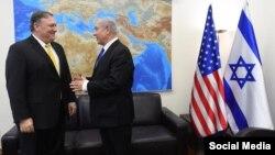 بنیامین نتانیاهو (راست) در جریان دیدار با مایک پمپئو، عکس آرشیوی