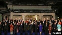 參加G20杭州峰會的各國領導人的全家福合影(2016年9月4日)