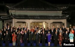 参加G20杭州峰会的各国领导人的全家福合影(2016年9月4日)