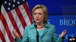 Hillary Clinton, Democratic presidential candidate and former Secretary of State, speaks about the Iran nuclear agreement at the Brookings Institute in Washington, D.C., Sept. 9, 2015.