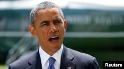 Barak Obama Oq uyda Iroq borasida bayonot bermoqda. 13-iyun, 2014-yil.