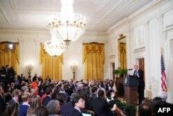 7일 미국 백악관에서 열린 도널드 트럼프 대통령 기자회견에 많은 내외신 기자들이 참석했다.