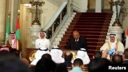 نشست خبری مشترک وزیران خارجه مصر، عربستان سعودی، امارات متحده عربی و بحرین در قاهره - ۱۴ تیر ۱۳۹۶