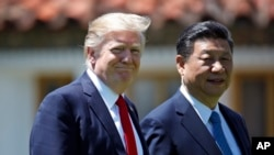 美国总统川普与到访的中国国家主席习近平在佛罗里达海湖庄园。 (2017年4月7日)