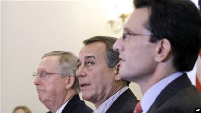 From left, Senate Republican Leader Mitch McConnell of Ky., House Speaker-designate John Boehner of Ohio, and House Majority Leader-elect Eric Cantor of Va., take part in a news conference, on Capitol Hill in Washington, 30 Nov  2010