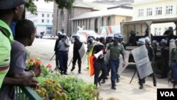 Police in Zimbabwe disperse members of Occupy Africa Unity Square in Harare.