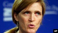 FILE - U.S. Ambassador to the U.N. Samantha Power.
