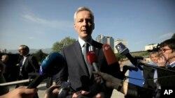 法國財政部長勒麥爾2018年4月27日在保加利亞索菲亞國家文化宮舉行歐元集團會議之前發表講話。