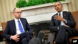 美国总统奥巴马在白宫会晤乌克兰临时总理亚采纽克。(2014年3月11日)