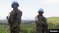 Des casques bleus tanzaniens de la Mission des Nations unies en RDC.