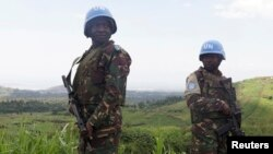 Des casques bleus patrouillant à Goma.