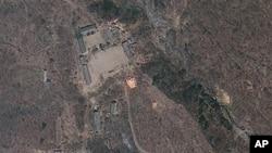 지난해 4월 18일 촬영한 북한 함경북도 풍계리 핵실험장 위성사진. 미국 '지오아이' 제공. (자료사진)