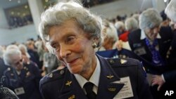 WASP pilot Bernice Falk Haydu smiles following a Congressional Gold Medal presentation ceremony on Capitol Hill, Wednesday, March 10, 2010, in Washington. (AP Photo/Haraz N. Ghanbari)