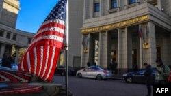 Автомобиль посольства США у здания МИД РФ, где Виктория Нуланд проводила переговоры с Сергеем Рябковым, Москва, 12 октября 2021 года