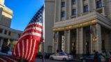 Sebuah kendaraan milik Kedutaan Besar AS terparkir di depan Gedung Kementerian Luar Negeri Rusia di Moskow saat diplomat AS untuk urusan politik tiba untuk bertemu dengan Wakil Menteri Luar Negeri Rusia pada 12 Oktober 2021. (Foto: AFP/Alexander Nemenov)
