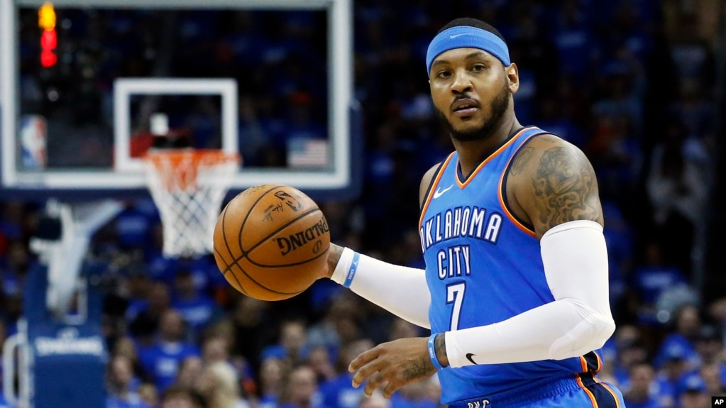 FILE - This April 25, 2018 shows Oklahoma City Thunder forward Carmelo Anthony (7) during Game 5 of an NBA basketball first-round playoff series against the Utah Jazz, in Oklahoma City.