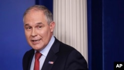 EPA Administrator Scott Pruitt, seen in this June 2, 2017 photo, looks back after speaking to the media during the daily briefing in the Brady Press Briefing Room of the White House in Washington. Records show Pruitt spent weekends in his home state during his first three months in office, frequently flying to and from Oklahoma at taxpayer's expense.