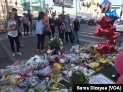 Homenaje en Las Vegas a las víctimas de la masacre del domingo 1 de octubre de 2017.