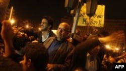 Лауреат Нобелевской премии Мохамед Эль-Барадеи выступает перед митингующими в Каире