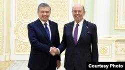 AQSh Savdo vaziri Uilbur Ross Toshkentda Prezident Mirziyoyev bilan, 23-oktabr, 2018