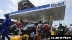 FILE - A gas station in Nigeria.